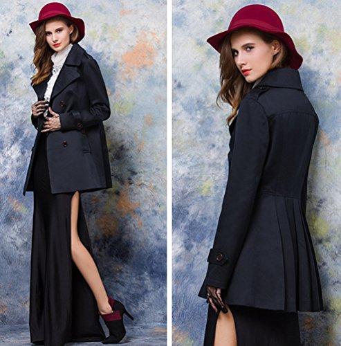 Baymate Mujeres Larga Abrigos Capa Doble Botonadura Cazadora Plegable Dobladillo Trench Coat Negro