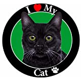 I Love My Black Cat Car Magnet with Realistic Looking Black Cat Photograph in The Center Covered in UV Gloss for Weather and Fading Protection Circle Shaped Magnet Measures 5.25 Inches Diameter