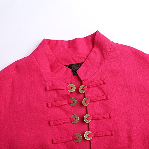 ACVIP Damen mit Kragen und Knopf Langarm Baumwolle und Leinen Oberteil Bluse