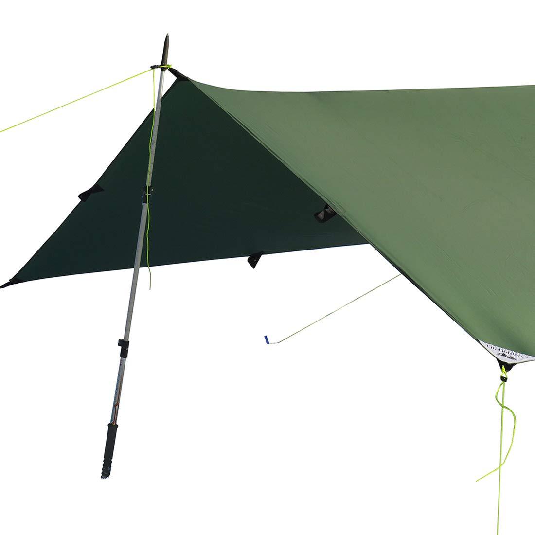 LiteOutdoors Silnylon Tarp - 11.3 Oz. - Ultralight Backpacking Tarp or Hammock Tarp (Green, 8' x 10') by LiteOutdoors