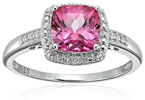Pink Topaz Ring - Sterling Silver Cushion Pink Topaz and Diamond Accented Halo Engagement Ring, Size 7