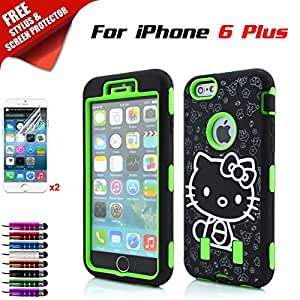 iPhone 6 Plus Case, Kool(TM) Hello Kitty Hard Case [3-piece Shockproof Cover] For iPhone 6 5.5 inch + 2 x Free Screen Protector + Stylus