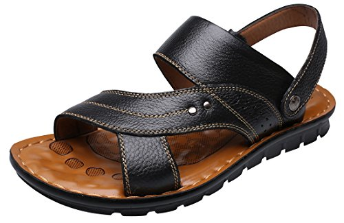 Vocni Men's Open Toe Casual Leather Comfort Shoes Sandals Large Size,Black_01,EU 40-7D(M) US