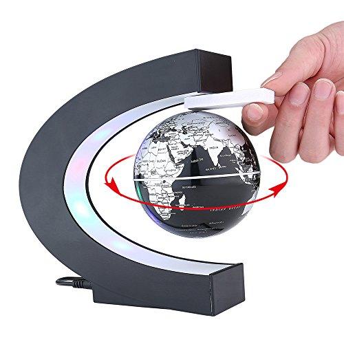 YANGHX Floating Globe 3 inch with LED Lights C Shape World Map for Desk Decoration