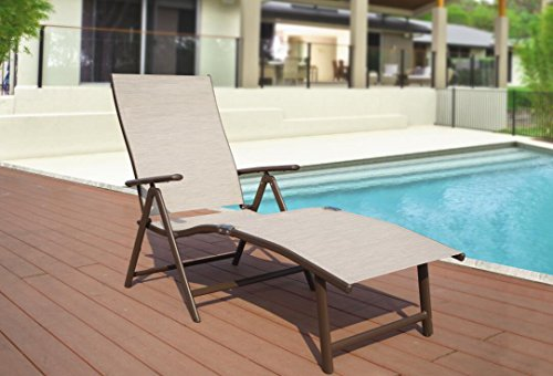 Kozyard Cozy Aluminum Beach Yard Pool Folding Reclining Adjustable Chaise Lounge Chair (Beige) Aluminum Stackable