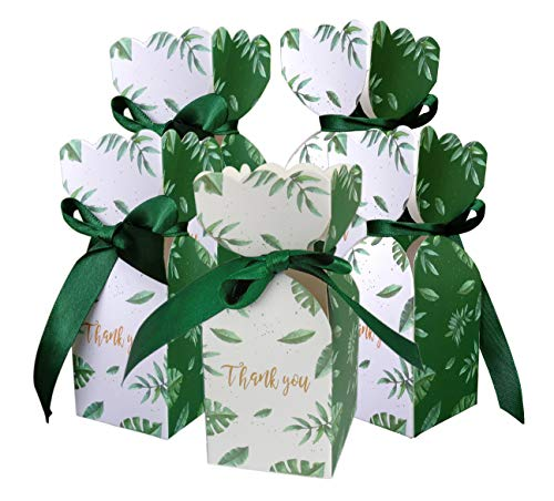 Lontenrea 50 Pcs Candy Boxes Wedding Birthday Party Favor Gift Box with 50pcs Black Green Ribbon Decoration - Green Party Box