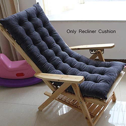 Chaise Lounge Cushion,Thick Rocking Chair Cushion Patio High Back Seat Cushion,Recliner Chair Padded Cushion for Zero Gravity Chair-Dark Gray 48x150cm(19x59inch) ()