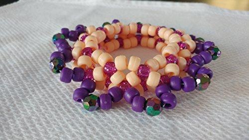 Purple and Peach 3-D Kandi Cuff Bracelet PLUR Kandi Trade