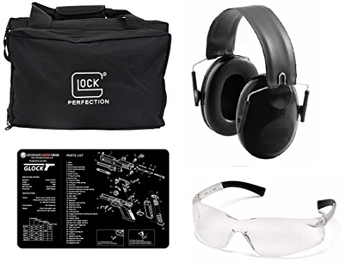 Glock Four Pistol Tactical Range Bag + Ultimate Arms Gear Shooting Eye Protection Glasses + Low Profile Ear Muff Earmuff Fold-Away Padded Head Band NRR 22db + Schematics Cleaning Mat
