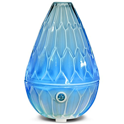 Essential Oil Diffuser 120ml Diamond Glass Aromatherapy Ultrasonic Cold Mist Humidifier 7 Color LED Lamp and Anhydrous Automatic Closing Office Home Bedroom Baby House Yoga Research (white)