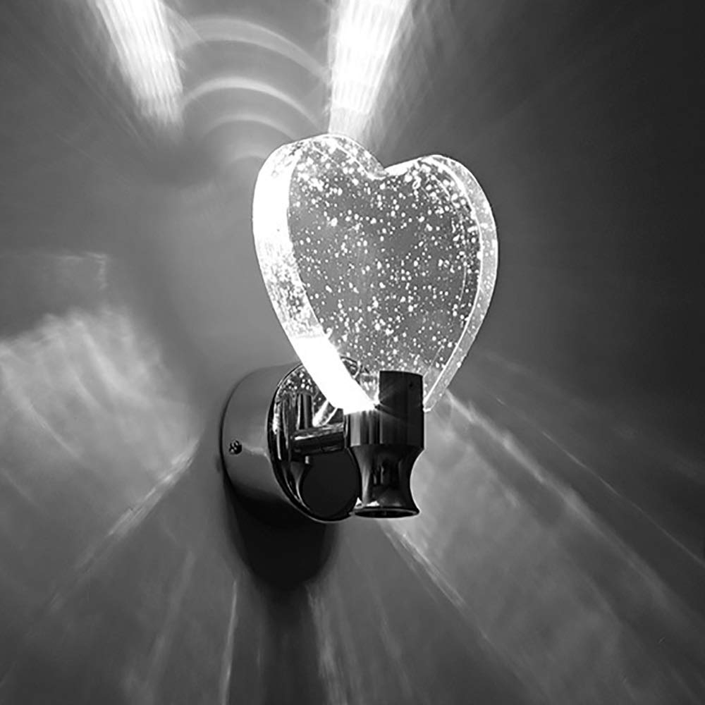 ZONA Elegent LED Creative Butterfly/Heart Shape Bubble Crystal + Stainless Steel Base + Aluminum Panel White/Yellow Light Button Style Bedroom Aisle Corridor Wall Light/Night Light Cozy by ZONA