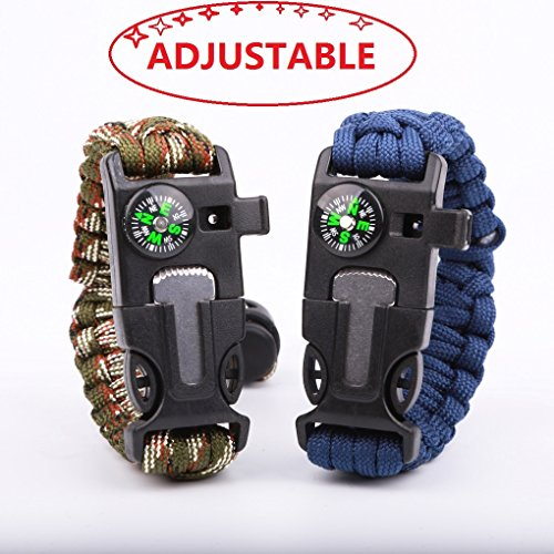 Survival Bracelet Paracord Military Bracelet Buckle Tool Adjustable Rope Accessories Kit, Fire Starter, Knife, Compass, Whistle,for Fishing Gear Supplies, Hiking Camp(2pcs Blue,Green Camouflage)