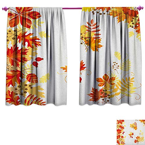 Curtain Fabric Autumn Themed Pattern Chestnut Oak Maple Leaves and Berries Corner Design Elements Waterproof Window Curtain W72 x L45 Multicolor ()