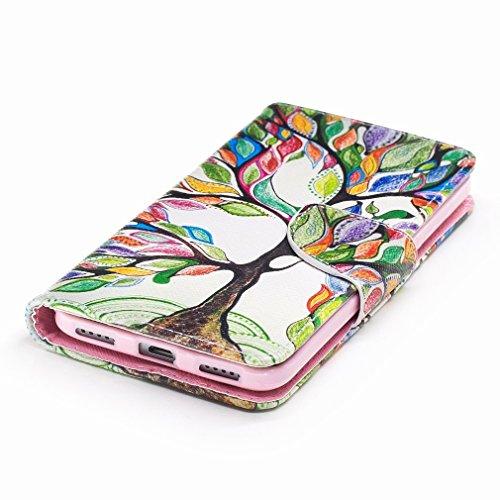 Yiizy Huawei Enjoy 6 Custodia Cover, Alberi Colorati Design Sottile Flip Portafoglio PU Pelle Cuoio Copertura Shell Case Slot Schede Cavalletto Stile Libro Bumper Protettivo Borsa
