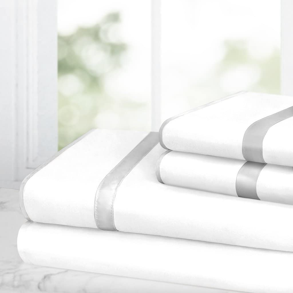 Egyptian Luxury Bed Sheet Set – 1500 Hotel Collection w/Beautiful Satin Band Trim - Ultra Soft Wrinkle & Fade Resistant Microfiber, Hypoallergenic 4 Piece Set- Queen - White/Silver