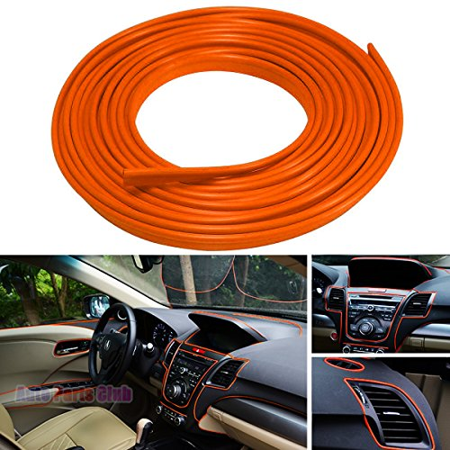 Car Interior Moulding Trim,3D DIY 5 Meter Flexible Interior Exterior Decoration Moulding Trims Strips line Stickers for Auto Accessories(Orange)
