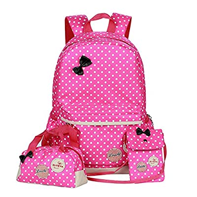 Polka Dot 3pcs Kids Book Bag Purse School Backpack Water Repellent Girls Teen high-quality