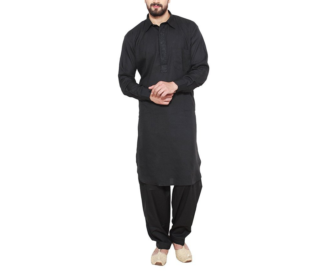 CRAFTSTRIBE Men'S Black Cotton Blend Pathani Kurta Salwar by CRAFTSTRIBE