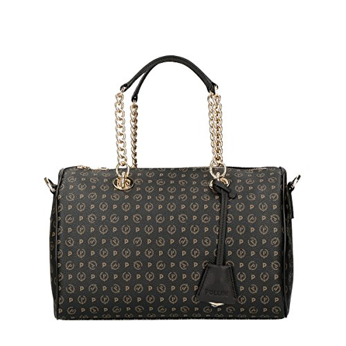Pollini Heritage hand bag Tapiro Pvc calf leither black
