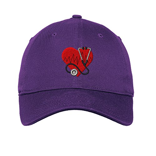 Heart Medical Logo Twill Cotton 6 Panel Low Profile Hat Purple