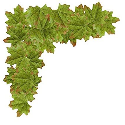 Artificial Maple Leaves, MerryNine Autumn Fall Leaves Bulk Assorted Multicolor Mixed Garland Wedding House Decorations (Maple Leaves-200pcs, Green) J007