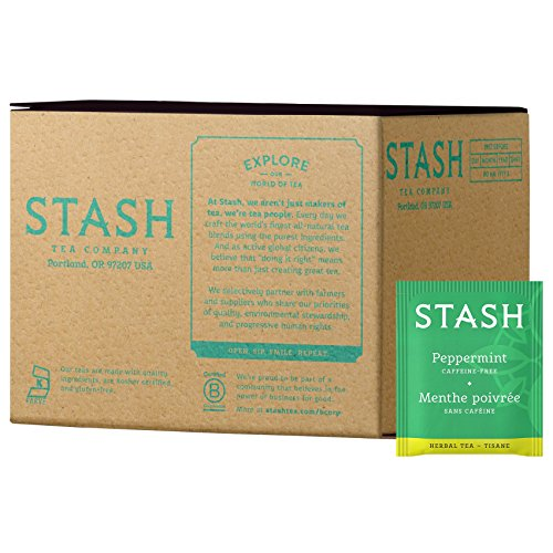 Stash Tea Peppermint Herbal Tea 100 Count Box of Tea Bags, Premium Herbal Tisane, Minty Refreshing Herbal Tea, Enjoy Hot or Iced - Bergamot Herb
