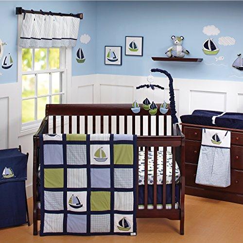 Nautica Kids Zachary 7-Piece Patchwork Sailboats Nursery Crib Bedding Set, Navy/Sage/Light Blue/White