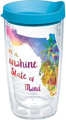 Tervis 1216833 Florida - Sunshine State Of Mind Insulated Tumbler with Wrap and Turquoise Lid, 16oz, Clear