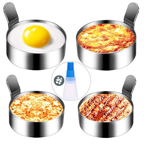 Egg Ring, Hanamichi 2 Size Mold 4 Packs Egg Cooking Pancake Rings Stainless Steel Non Stick Omelet Mold Cooking Tool - 3.5 Inch & 3.0 Inch