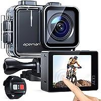 APEMAN Action Cam A100,Echte 4K 50fps WiFi 20MP Touchscreen Unterwasserkamera Digitale wasserdichte 40M Helmkamera (2.4G...