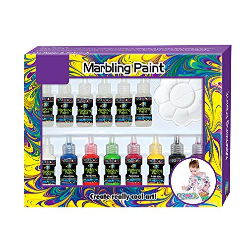 marbling Paint Kits Kids Water Color Ebru Starter Set Marbling Ink Paint Set for Paper Fabric Innovative Handmade Art craftsToys 8 Colors 20 ml for Each