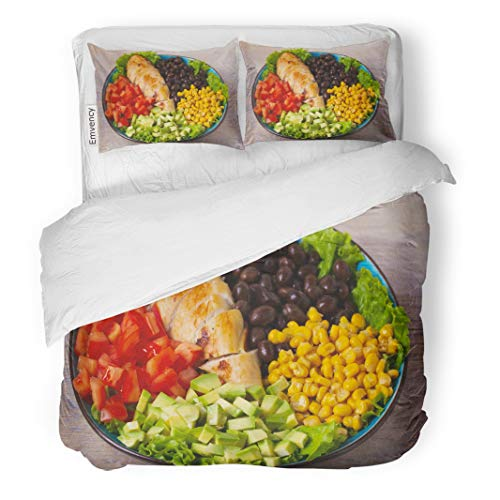 Emvency Decorative Bedding Duvet Cover Set Grilled Chicken Avocado Tomatoes Sweet Corn Beans and Lettuce Southwestern Colorful Salad Creamy Cilantro Dressing Zipper Closure Queen Size