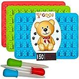 Gooj-Gummy Bear Molds- 3 Silicone Molds 150 gummy bears total 3 BONUS Droppers, e-Book Download.- BPA Free