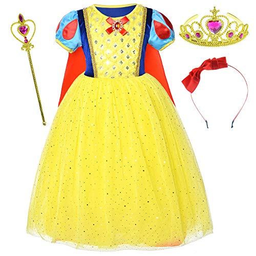 Party Chili Girls Princess Snow White Costume for Birthday with Accessories 10-12 Years(150cm)]()