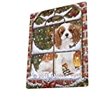 Please Come Home For Christmas Cavalier King Charles Spaniel Dog Sitting In Window Blanket BLNKT53895 (60x80 Fleece)