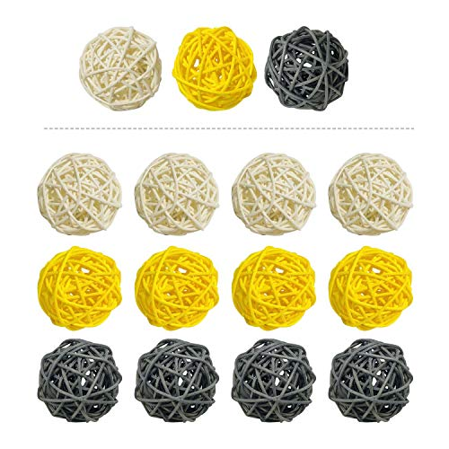 15 Pieces Wicker Rattan Balls Decorative Orbs Vase Fillers for Craft, Party, Wedding Table Decoration, Baby Shower, Aromatherapy Accessories, 2 Inch (Yellow Gray White) (Tall Rattan Vase)