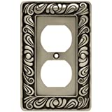 Franklin Brass 64044 Paisley Single Duplex Outlet Wall Plate / Switch Plate / Cover, Brushed Satin Pewter