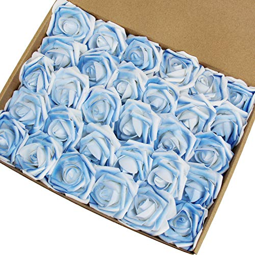 Marry Acting Artificial Flower Rose, 30pcs Real Touch Artificial Roses for DIY Bouquets Wedding Party Baby Shower Home Decor (Sprinkling ()