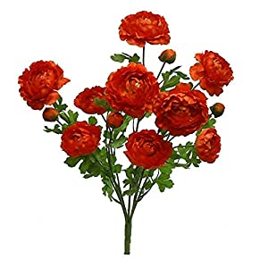 "22"" Ranunculus Bush Silk Wedding Flowers Bridal Bouquet Home Party Decora 5 (Orange) 114"