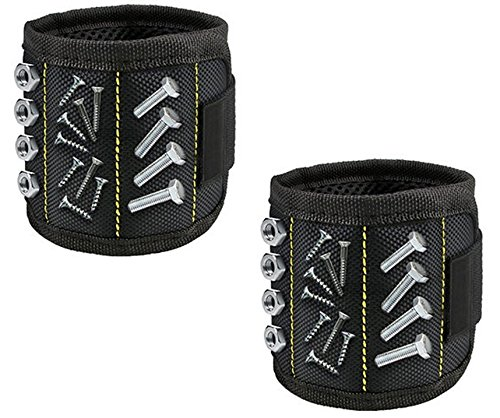 Laser Sports Set of 2 Magnetic Lightweight Wristbands - Ideal for Holding Small Metal Tools, Screws, Bolts, Drill Bits, Washers, Nails by Laser Sports