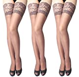 Women's Sheer Thigh-High Stockings Thigh High Socks Sexy Ultra-sheer Lace Unique style by Chu warm 3 Pairs (coffee, one size)