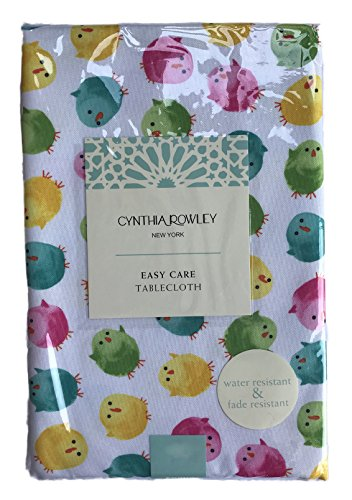 Cynthia Rowley Colorful Easter Chicks Themed Easy Care Tablecloth (Oblong 60