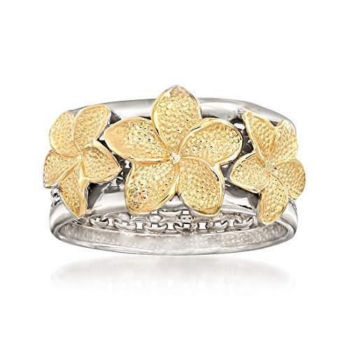 Ross-Simons Sterling Silver and 14kt Yellow Gold Floral Bismark-Link Ring ()