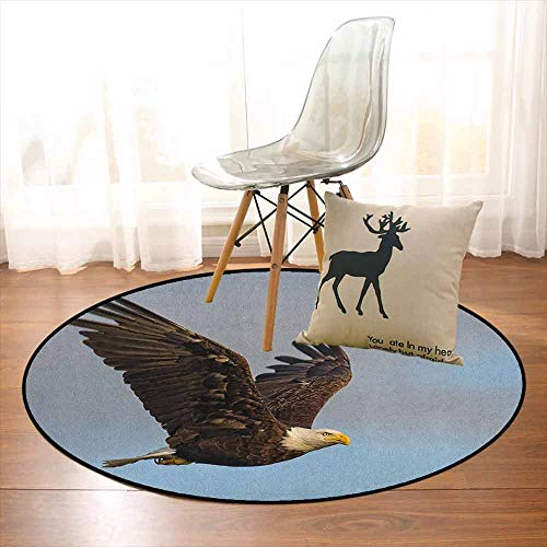 Eagle 3D Printed Round Carpet Photo of a Hunter Bird Flying in Open Sky Majestic Animal Wildlife Freedom for Partial Areas D35.4 Inch Pale Blue Dark Yellow - High Power Flying Subwoofer