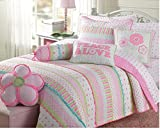 3 Piece Vibrant Peace Love Themed Quilt Set Queen Size, Featuring Flowers Dots Stripe Patterned Design Comfortable Bedding, Casual Fun Playful Chic Girls Bedroom Decoration, Pink, White, Multicolor