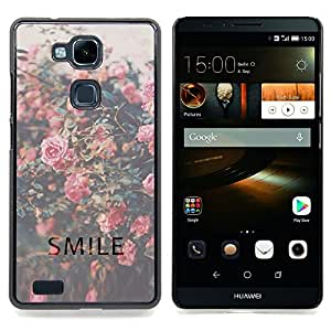- smile motivational vignette roses - - Modelo de la piel protectora de la cubierta del caso FOR HUAWEI Ascend Mate 7 RetroCandy