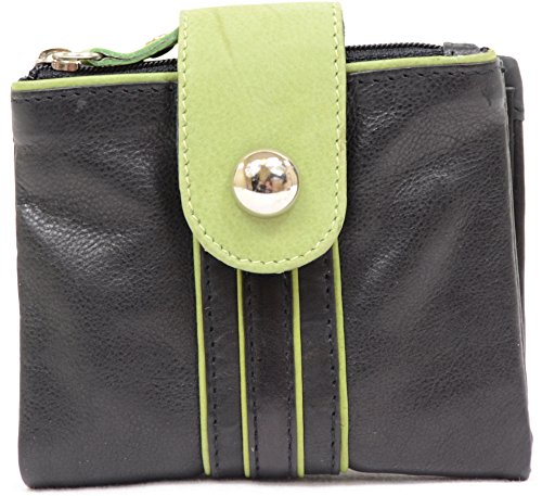 Note Leather Purse Ladies Soft and Fastner Coin Green Over Design Card and Holders with Attractive Fold 1XUnTnwxq