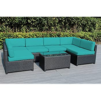 Amazon.com: exacme 9 Pcs Lujo Negro Patio Seccionales de ...