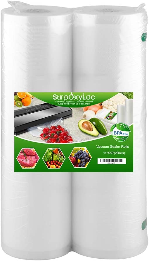 SurpOxyLoc 2 Pack 11x50 Vacuum Sealer Bags Rolls for Food Saver,Seal a Meal,Plus Other Machine,BPA Free,Heavy Duty,Great for Sous Vide Cooking