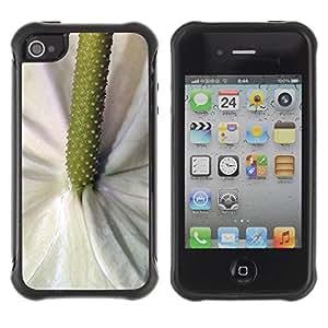 LASTONE PHONE CASE / Suave Silicona Caso Carcasa de Caucho Funda para Apple Iphone 4 / 4S / Green White Flower Tropical Nature